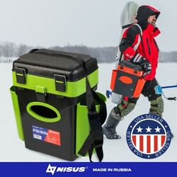 Nisus Fishbox Ice Fishing Tackle Box 2 Adjustable Compartments With Seat 10l