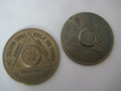 Aa Sobriety Recovery Coin Lot Xi 11 Xii 12 Year Serenity Prayer Service Token