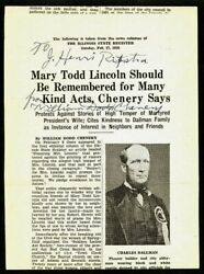 William Dodd Chenery Autographed Broadside - Mary Todd Lincoln