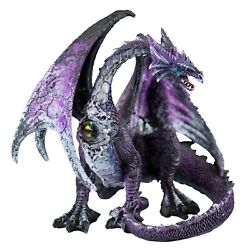 Purple And Gray Sitting Dragon Figurine Statue 7.25 Long Resin New In Box