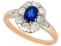 Antique 1930s Sapphire And Diamond 14k Rose Gold Cluster Ring