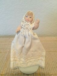 Vintage Bisque 2.5quot; Miniature Dollhouse Baby Doll in Christening Gown 4.5quot;