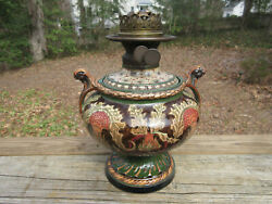 Royal Bonn Highly Decorated Ceramic Oil Lamp And Stern Bros. Double Font