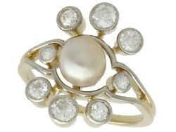 Antique Pearl And 1.02 Ct Diamond 18k Yellow Gold Cluster Ring 1930s Size 5.7/8