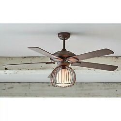 Metal Cage Ceiling Fan And Light Farmhouse Style Black/brown Brand New In Box