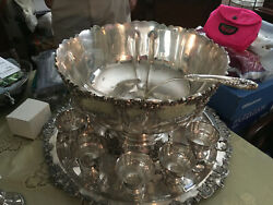 Vintage Punch Bowl Set 10 Cups Baroque Wallace Silver Plate
