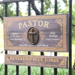 Pastor Wood Sign With Custom Nameboard