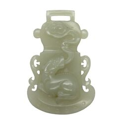White Jade Belt Buckle Hook Plate With Fortune Pixie Catching Luyi Cloud S1551n