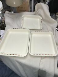 Vintage Enamel Ware 3 Piece Nesting Pans Set With Red Flowers Has Letters S/o