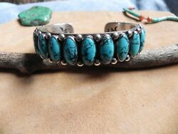 Turquoise W Black Matrix And Sterling Silver Cuff Bracelet Ernest Roy Begay Navajo