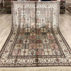 Yilong 6and039x9and039 Hand Knotted Garden Scenes Carpet Handmade Silk Interior Rugs 004b