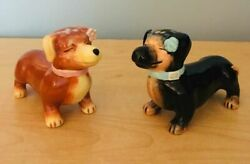 Set Of Dachshund Dog Salt And Pepper Shakers Guc