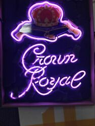 Crown Royal Whiskey Neon Sign Lamp Light Beer Pub With Dimmer