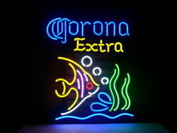 Corona Extra Tropical Fish Neon Sign Lamp Light Beer Bar With Dimmer