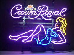Crown Royal Beauty Girl Neon Sign Lamp Light Beer Bar With Dimmer
