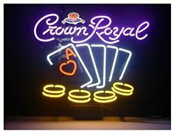 Crown Royal Poker Neon Sign Lamp Light Beer Bar With Dimmer