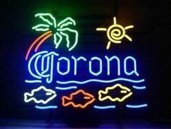 Corona Extra Macaw Fish Palm Tree Neon Sign Lamp Light Beer Bar With Dimmer