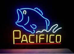 Pacifico Bass Fish Neon Sign Lamp Light Beer Bar With Dimmer