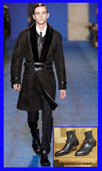 F/w 2011 Look 7 New Versace Black Leather Boots With Silver Medusa 44 - 11