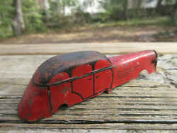 Antique Lindstrom Tin Toy Windup Car Body Only Art Deco 1920's 4 Red