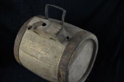 1800and039s Antique Wooden Vessel Canteen Keg Rum Whiskey Barrel Wrought Iron