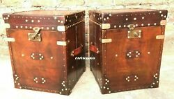Pair Of Finest English Leather Antique Inspired Side Table Trunks Best Gift