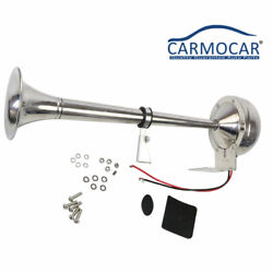 12v Stainless Steel Single Trumpet Air Horn 390mm Fits For Marine Truck Car Boat