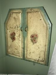 Vintage Farm House Metal Kitchen Cabinet Small Size Pantry Industrial 1930's