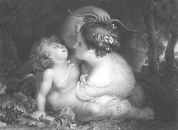 Pretty Nymph Girl Takes Bow From Lover Boy Cupid Old 1852 Art Print Engraving