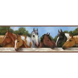 Horses at the Fence Prepasted on Sure Strip Wallpaper Border SB7540BD