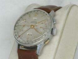 EXCELLENT STAINLESS 38MM ANGELUS CHRONODATO CHRONOGRAPH W ORIGINAL DIAL!
