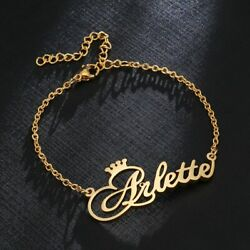 Custom Crown Name Bracelet Engraved Adjustable Jewelry Personalized Women Gift $14.89