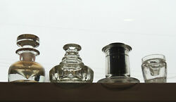 4 Unusual Antique Glass Inkwell Lot 19th Century Writing Pen Drawing Ink Bottle