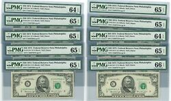 Fr. 2118c 50 1974 Federal Reserve Note 10 Consecutive Dc-2669 64-66epq Pmg