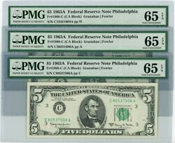 Fr. 1968c 5 1963a Federal Reserve Note 3 Notes 65 Epq Pmg Dc-1647