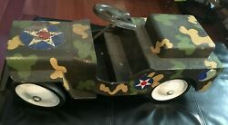 Vintage 1950's Structo Toys Pressed Steel Army Jeep Truck Ride On 25 Rare