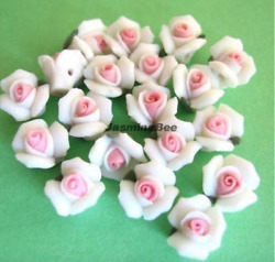 1doz12 Porcelain Glass Roses Charms Beads White 9mm