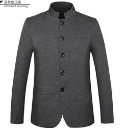 Menand039s Stand Collar Jacket Single Breasted Formal Dress Chinese Style Business