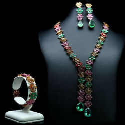 Natural Set Green Fluorite Emerald Ruby Citrine And Sapphire 925 Sterling Silver
