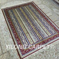 Yilong 4and039x6and039 Handwoven Silk Carpet Striped Design Antistatic Indoor Rug H297b