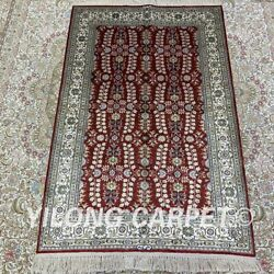 Yilong 2.7'x4' Handmade Silk All-over Red Rug Classic Floral Carpet H205b