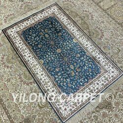 Yilong 2.5and039x4and039 Blue Handknotted Silk Area Rug Traditional Floral Carpet H185b
