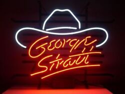 New George Strait Hat Country Music Neon Sign Beer Bar Pub Gift 17x14