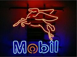 Mobil Gas Flying Pegasus Horse 17x14 Neon Sign Lamp Light Beer Bar With Dimmer