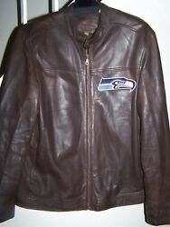 Menand039s Size Large 46 Brown Leather Jacket And Seattle Seahawks Logo/lined