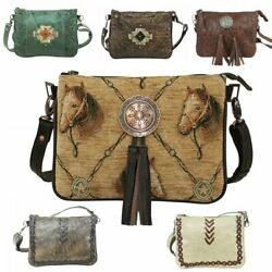 American West Leather Many Pockets Multi-compartment Crossbody Bag