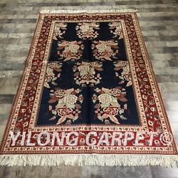 Yilong 4'x6' Rose Pattern Handmade Silk Rugs Classic Hand Knotted Carpets 063m