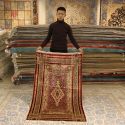 Yilong 3'x5' Vintage Handmade Silk Carpet Red Rose Design Hand Knotted Rug L049a