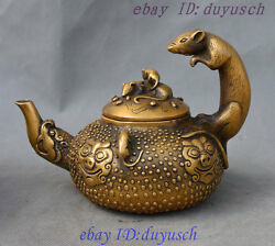 6 Chinese Bronze 5 Wealth Mouse Pig Beast Head Statue Teapot Wine Pot Flagon