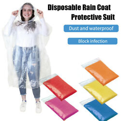 10x Disposable Poncho Protective Suit Outdoor Hiking Emergency Rain Coat